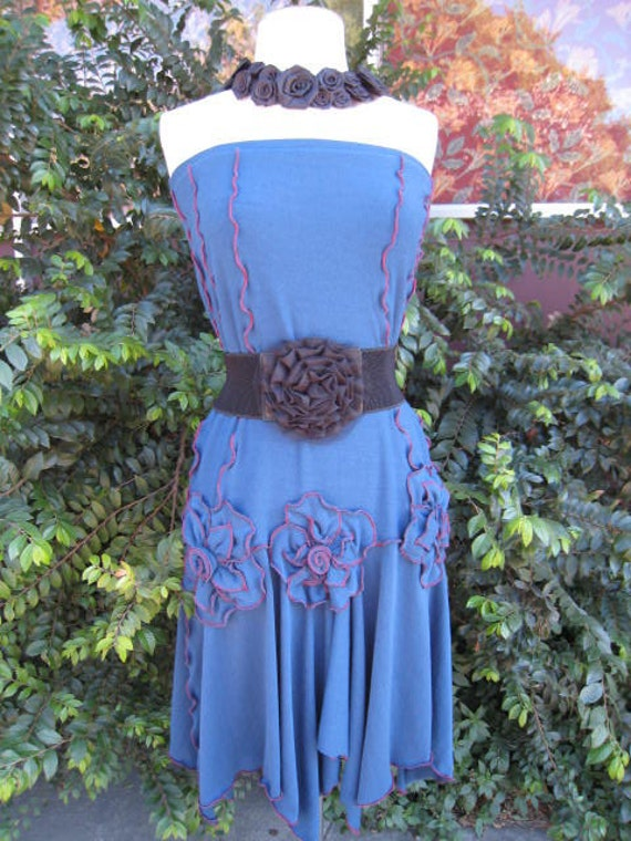 Hand made Blue color long length skirt with 3 roses decoration in the front also can be tube dress for optional plus made in USA (v301)