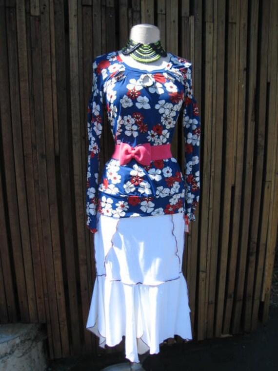 Winter white red stitching ruffle skirt plus made in USA