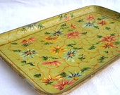 antique handpainted floral Japanese  tray