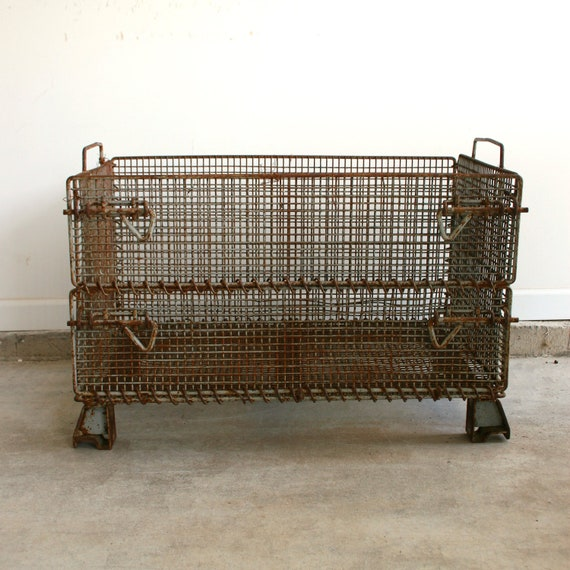 RESERVED for Jon. Industrial Metal Crate. Metal Basket. Factory Crate. Storage Box. Industrial Home Decor. Organization. Dudes Men for Him.