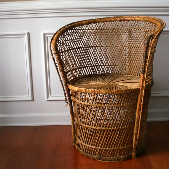 Etsy Vintage Bamboo Furniture: Vintage Chair Modern Rattan Mid Century Chair Bohemian Home
