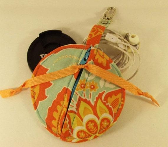 Dollbirdies Circular Pouch for Lens Caps, Ear Buds, IPod Shuffle, Coins, Etc