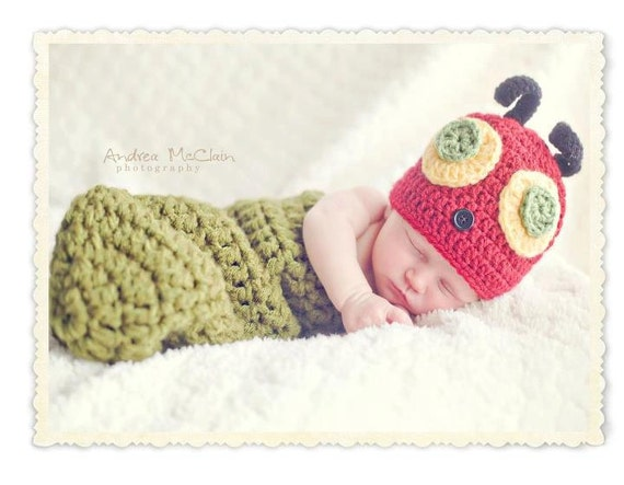 Newborn Hungry Caterpillar Hat and cocoon Set