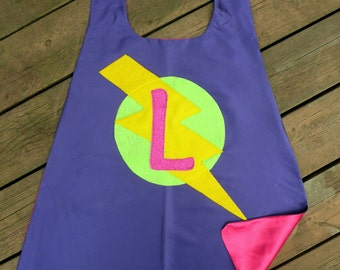 NEW CUSTOMIZED SPARKLE Lighting Bolt Girls Super Hero Cape double sided with sparkly hot pink initial