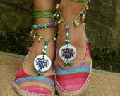TRIBAL LOTUS BAREFOOT sandals beach wedding purple green slave anklet hippie yoga dance foot jewelry bohemian shoes made to order