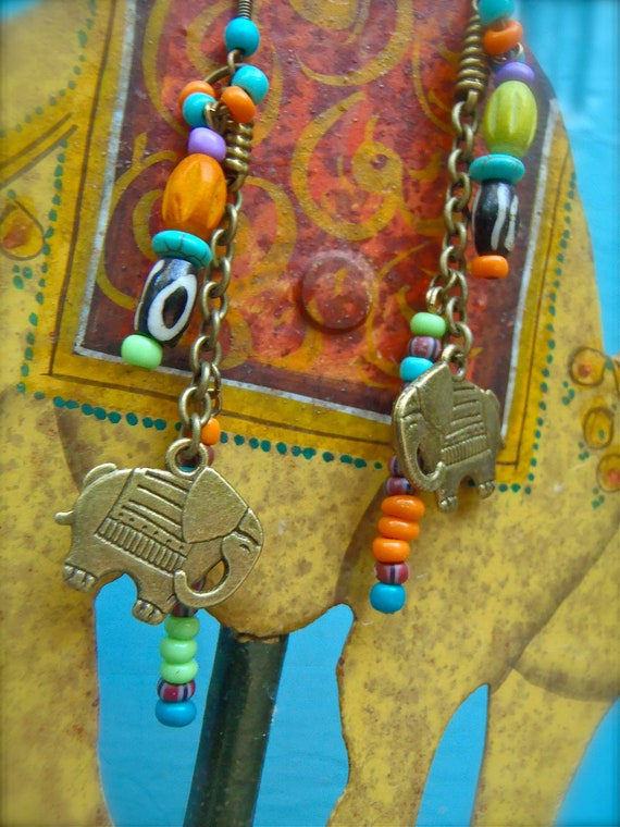 SALE bohemian LUCKY ELEPHANT earrings brass Tribal earrings Ganesh earrings yoga earrings hippie boho