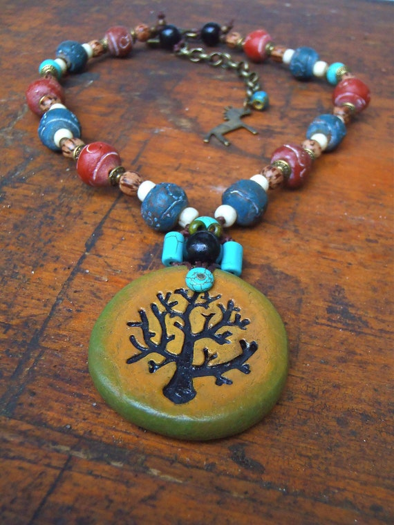 PRANA TREE Necklace Tree of Life necklace PEACE Tree spiritual necklace Chunky necklace Yoga jewelry Clay necklace