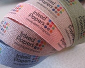 Color Twill Fabric Labels, three-quarter inch ribbon, spool - uncut - choice of blue, pink, green, gray, brown