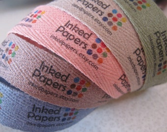 COLOR Twill, Three-Quarter Inch Ribbon, Spool - CUSTOM Printed Sew-in Fabric Label (blue, pink, green, gray and brown)
