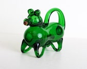 Vintage 40s 50s Green Murano Glass Dog Decanter