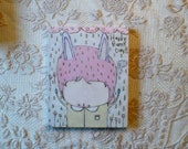 RESERVED Cute Bunny Encaustic painting Happy Bunny Day love 8x10 Wood Burned Painting mixed media