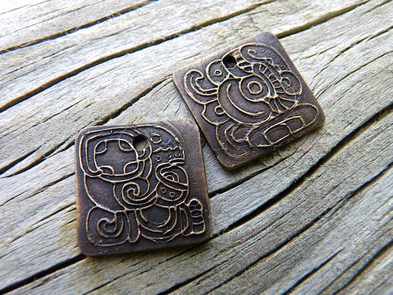 Ancient Mayan Glyph Talisman Handmade Bronze Pendant