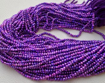 2 Strands,Brand New, Mystic PURPLE Pyrite Faceted Rondelles,3.5mm size,Amazing AAA Quality Wholesale Price.