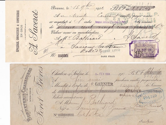 Vintage French money orders x 2 HAND WRITTEN
