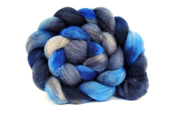 STORM SEASON Hand-Dyed Cheviot Combed Top/Roving-4 ounces