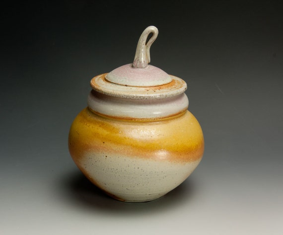 Handcrafted soda fired white stoneware, cookie or storage jar 536
