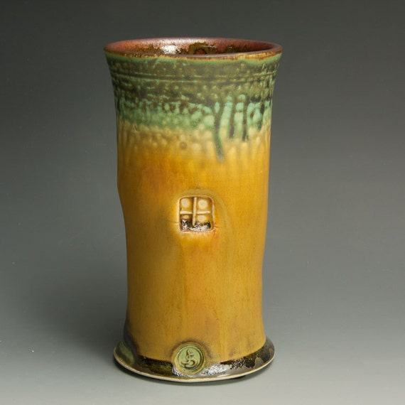 Sale-Handcrafted stoneware flower vase fall colors- 640