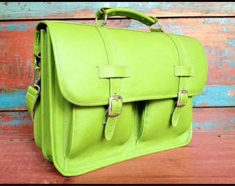 DIAZ Medium Leather Messenger Briefcase / Backpack Laptop Bag Satchel in Mishele Green - (15in MacBook Pro)