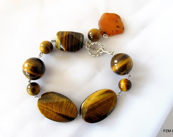 Chunky tigers eye bracelet, tribal gemstone tennis bracelet, Large bead line bracelet, gift for her under 50