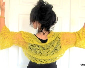 Yellow silk mohair shrug, luxury knit silk sweater with crochet edges, fine knit outerwear