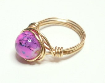 Pink Blue Navy Blue Gold  Handmade Wire Wrapped Ring Sizes 1-14