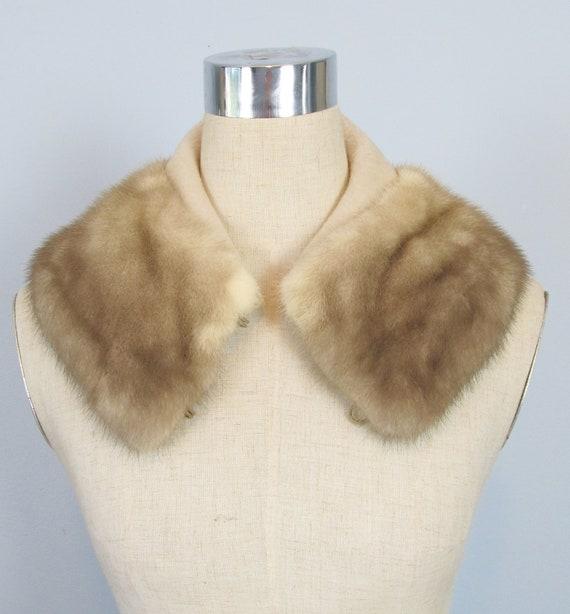 Vintage 1950's Light Silver Mink Fur Coat Collar Stole