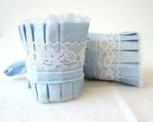 Pale Dusk Blue Acqua Dupioni Silk Ruffle Cuff with White Vintage  Lace - Set of 2 - Wedding Cuffs - Something Blue - by OnePerfectDay
