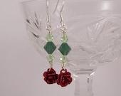 Red Rose and Green Swarovski Crystal Enamel Great Spring Gift