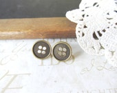 BUTTON UP button post earrings (antique brass/ gold) nickle-free