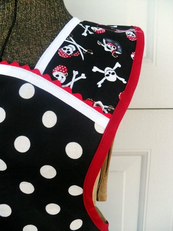 Skullery Maid Full Retro Style Apron Pirates and Polka Dots