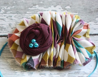 Ruffles and Jewels- ruffle and rosette in multicolor fall hues