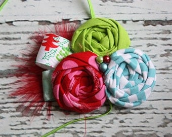Holiday Flair- triple rosette headband in pink, lime, and aqua with feather and pearls