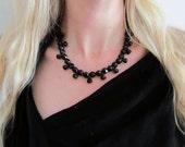 Vintage Black Glass Collier Necklace c.1940s