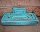 Jewelry Box Valet Turquoise Distressed Vintage
