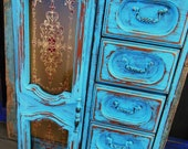 Jewelry Box Turquoise Distressed Wooden Large Yellow Lining
