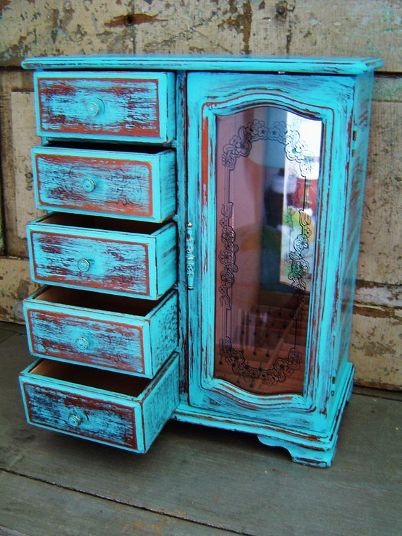Jewelry Box Turquoise Distressed Wooden Large