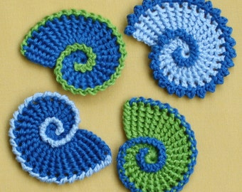 Sea Shell Applique - crochet pattern, PDF in English, Deutsch
