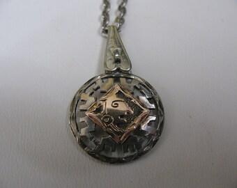 Vintage Silver Gold Guatemala Pendant