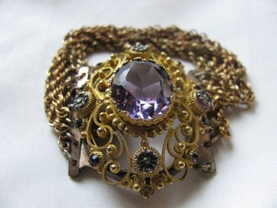 Victorian Bracelet - Gold and Amethyst 1820-40 Original