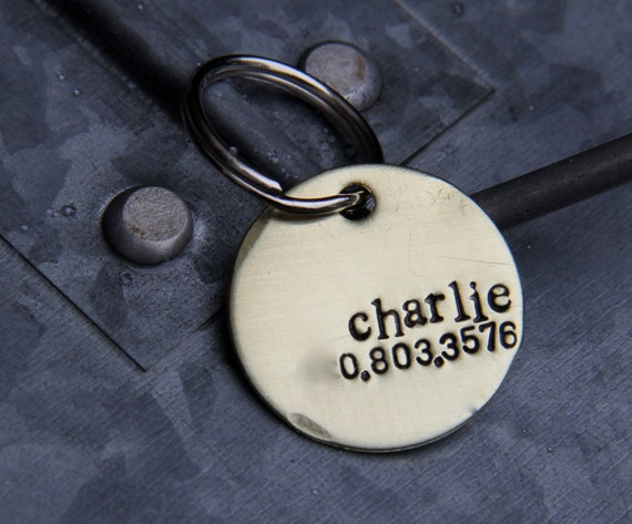 Custom Pet ID Tag, Charlie, in 1'' Brushed Brass