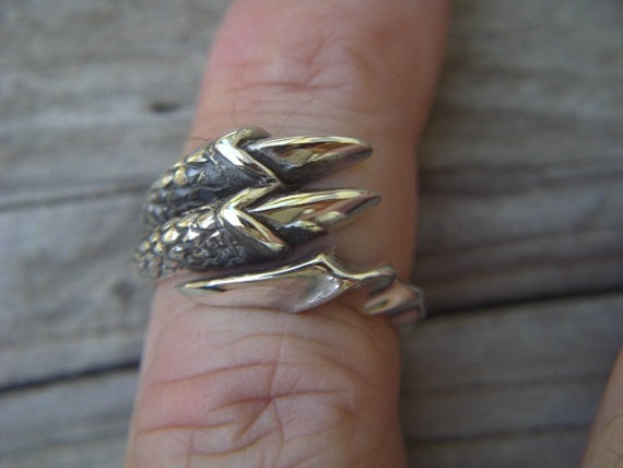 Double claw ring in sterling silver
