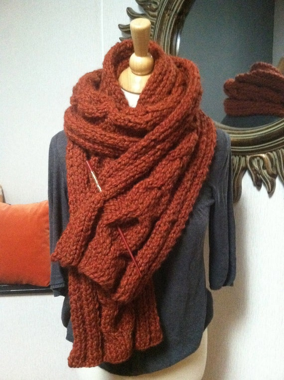 Autumn Russet Cable Scarf