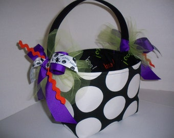 Trick or Treat Halloween Bag / Basket / Bucket / Tote - Personalization Available