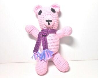 Pink Bear Hand Crocheted