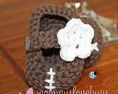 Football Crochet Booties - For a Girl or a Boy - Newborn through 24 Months