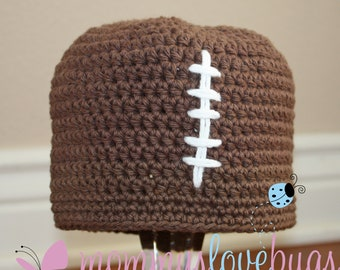 Touchdown Boys Crochet Football Beanie - Newborn through 4T Sizes Available