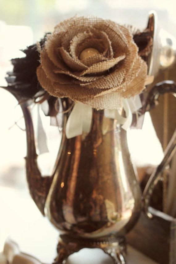 Burlap Flower Pen - Vintage Wedding