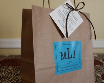 Wedding Welcome Bags Out Of Town Guest Bags Chocolate and Blue with Dark Brown Raffia