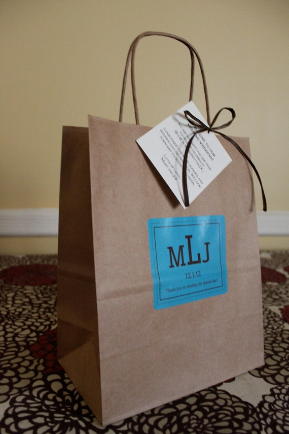 Wedding Favor Bags For Out Of Town Guests : 12 Wedding Welcome Bags Out Of Town Guest Bags Chocolate and Blue with ...