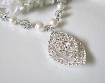Bridal Necklace Navette Crystal Drop With Swarovski White Pearls And Rhinestone Balls, Bridesmaid Necklace, Silver Wedding Jewelry
